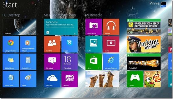 Schermata Start Windows 8 personalizzata con immagine personale come sfondo