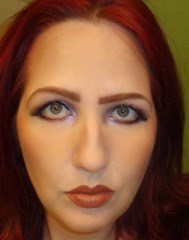 look with contour blended and makeup applied