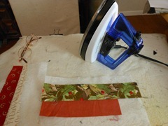 two sewn strips ironed