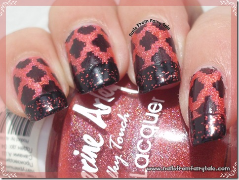 black and red french manicure with stamping 5