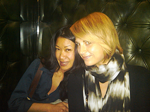 Katie and Cara in the elevator. We liked the tufted leather walls...super chic.