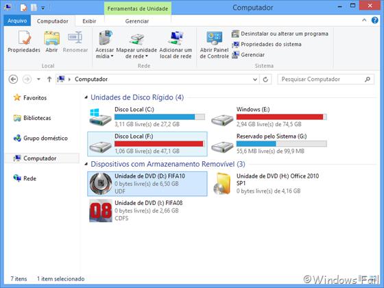 Uma unidade de DVD virtual contendo os arquivos da imagem de disco estará presente em Computador