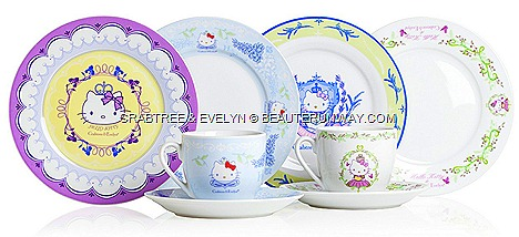 CRABTREE &amp; EVELYN HELLO KITTY TEA SETS SUMMER 2012 LIMITED EDITION tea sets, tea cups and saucers, small plates, tea pot two-tier cake stand Rosewater, Lily, Wisteria, Lavender crown ngee ann city, raffles city, suntec, bugis