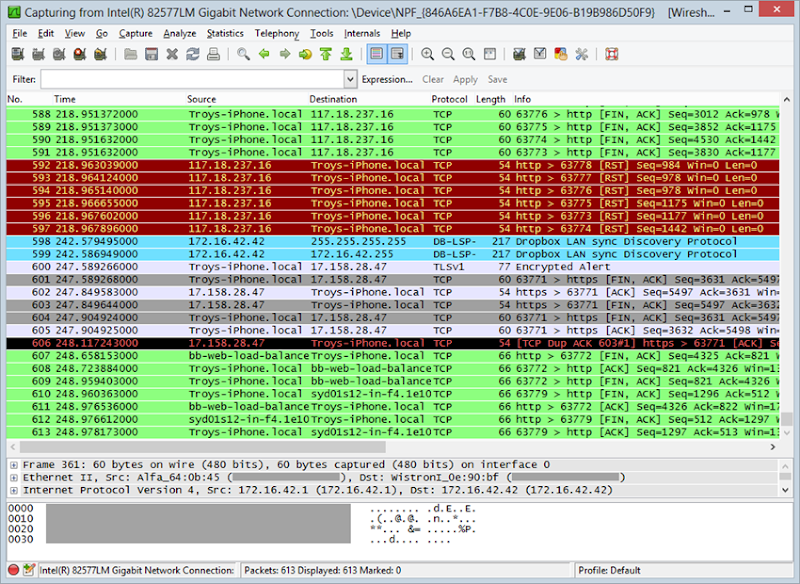 Wireshark packets captured from the Pineapple