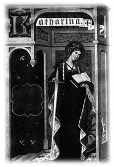Santa Catalina de Alejandria. Lamina 80. 'Vida de los santos', de Butler, dos volumenes, edicion sig. XIX