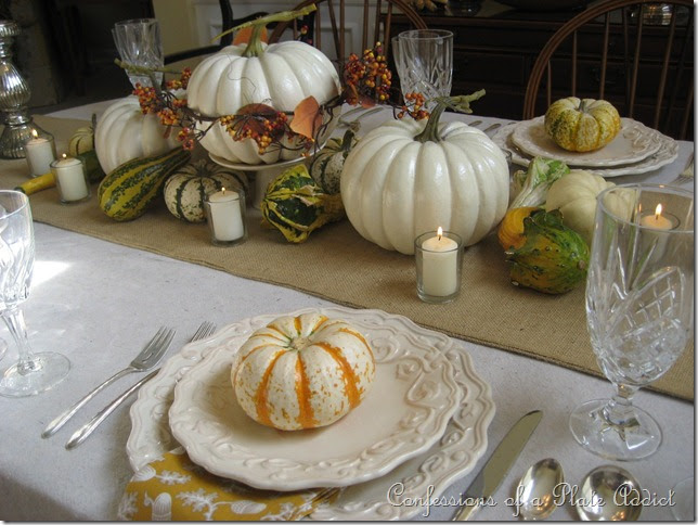 Confessions of a plate addict thanksgiving tablescape for White pumpkin table decorations