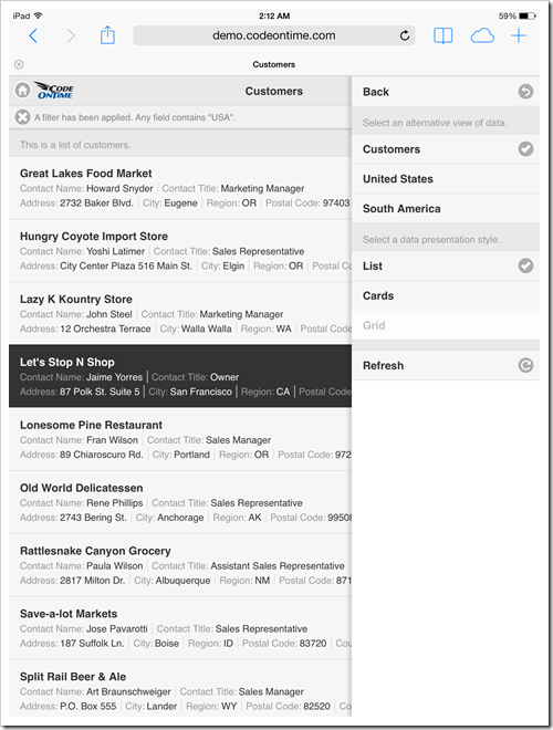 Mobile app created with Code On Time displayed with undocked sidebar in 'List' mode with portrait orientation on Apple iPad Air.