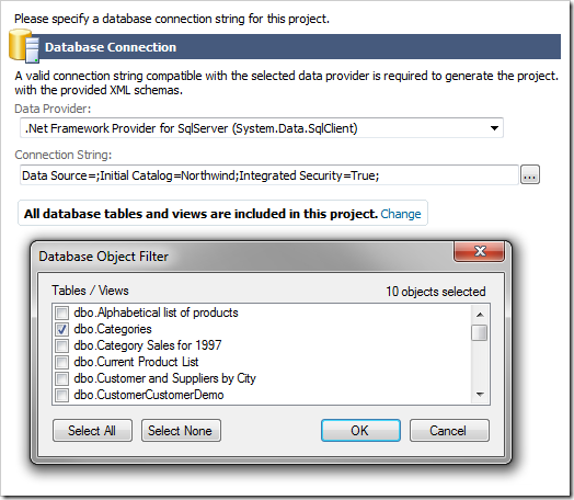 Selecting database tables and views to include in the project.