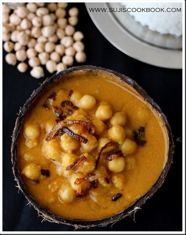Chana in roasted coconut gravy, kerala style
