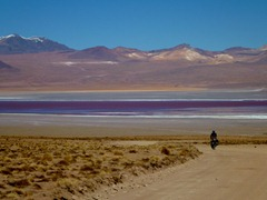 Descending to Laguna Colorada, Southwestern Bolivia.