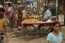 Typical fruit vendor cart in the streets of Delhi, India