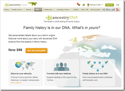 The AncestryDNA home page makes a sales pitch if you've not purchased a test