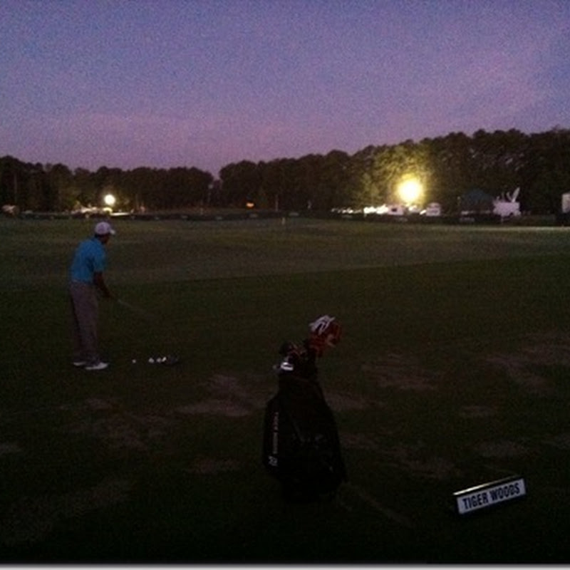 Tiger Practicing at 6.30am at the PGA.  Five Advantages