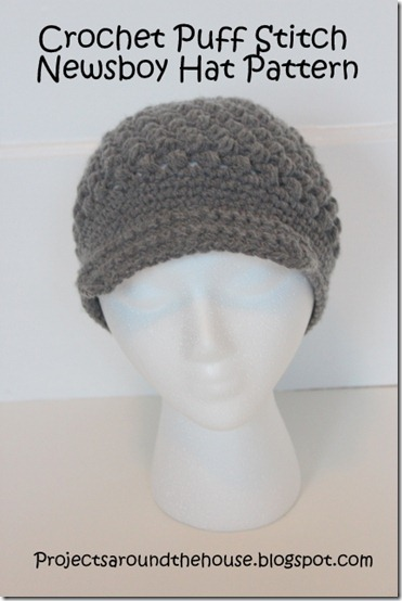 Crochet Puff Stitch Newsboy Pattern beanie brim free