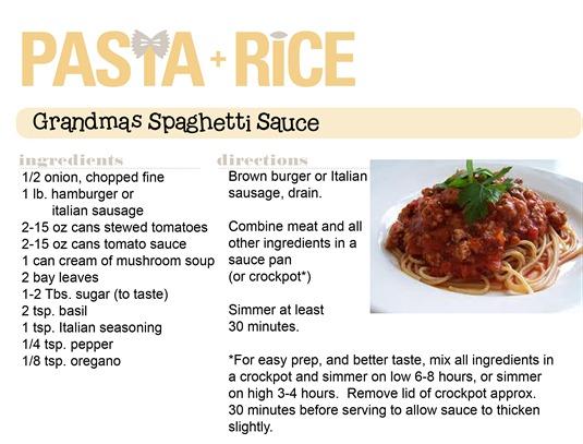 spaghetti sauce & mastaccioli