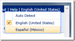 Language selector in Code On Time web application.