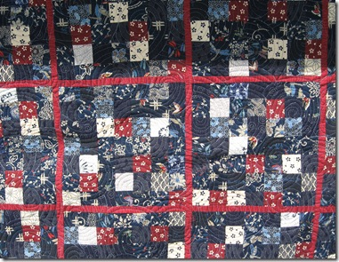 quilting on Japanese fabric quilt