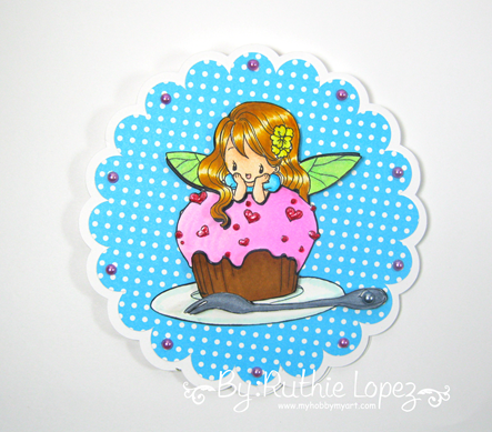 Milk N Coffee - Fiona and her cupcake -circle easel card - Ruthie Lopez 2
