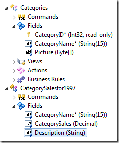 Description field placed at the bottom of Fields node of CategorySalesfor1997 controller in the Project Explorer.