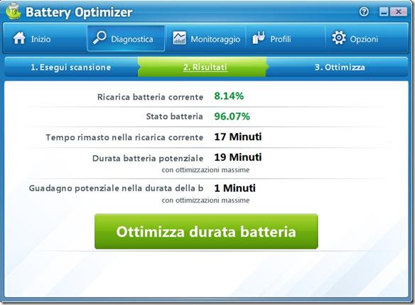 Battery Optimizer risultati analisi per ottimizzazione della batteria
