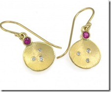 ruby and diamond gold petal drop earrings