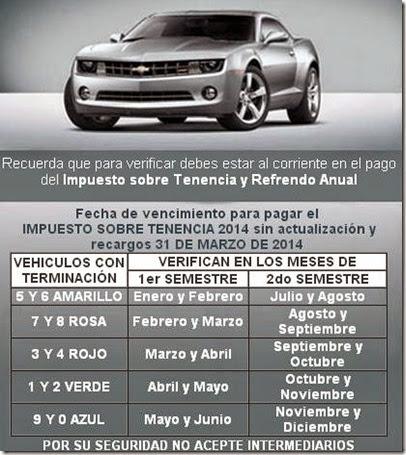 Calendario de verificacion Estado de Mexico