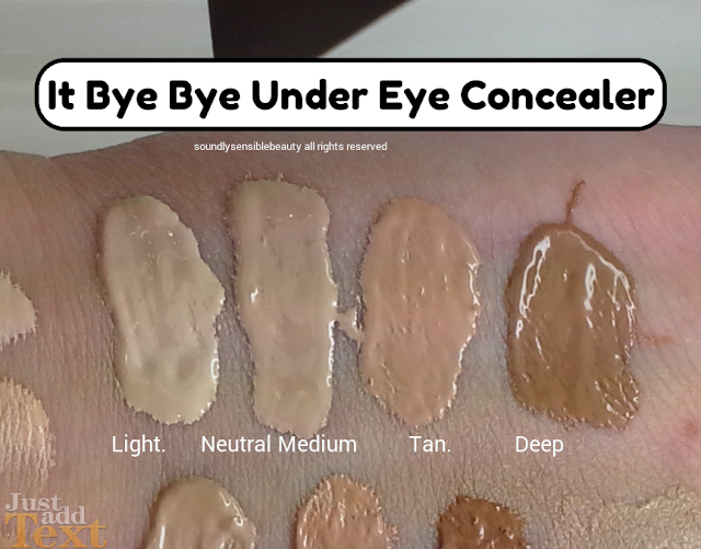 It Bye Bye Under Eye Concealer; Review & Swatches of Shades  Light, Medium, Tan, Deep