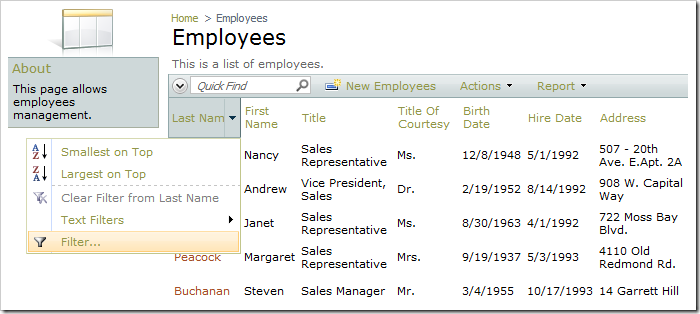 Last Name column header dropdown not displaying any filter samples.