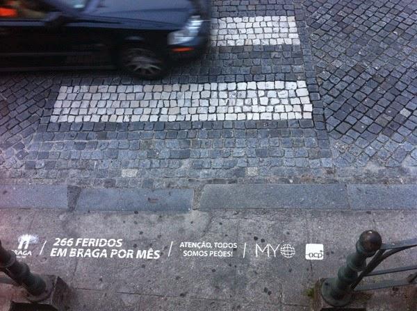 Campanha contra atropelamentos - pintura em passadeira à porta de escola em Braga