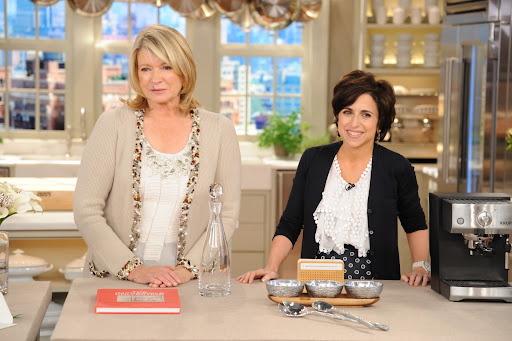 Here, Martha Stewart and Darcy Miller during the production of
