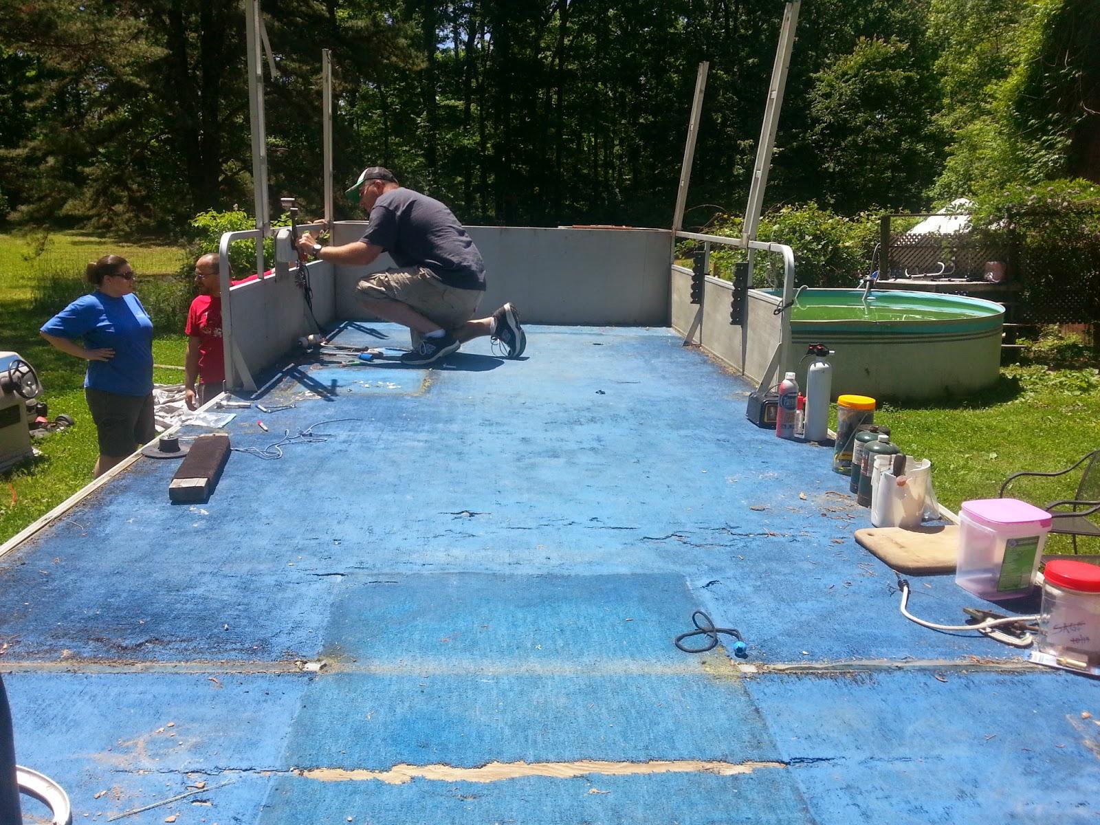 international blue: pontoon boat floor