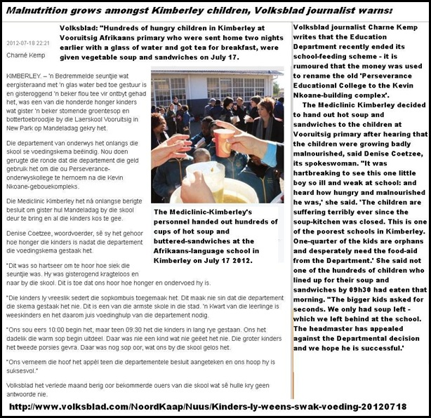 AFRIKANERS HUNGER MALNUTRITION amongst hundreds of Kimberley schoolkids reports Volksblad