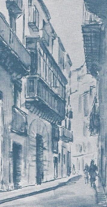 Calle del Pintor Fillol. Mi casa con la balconada. Dibujo de Ginestá, años 60