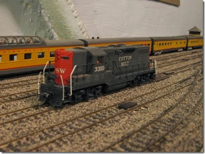IMG_0437 Cotton Belt GP7 #3310 on My Layout on April 5, 2008