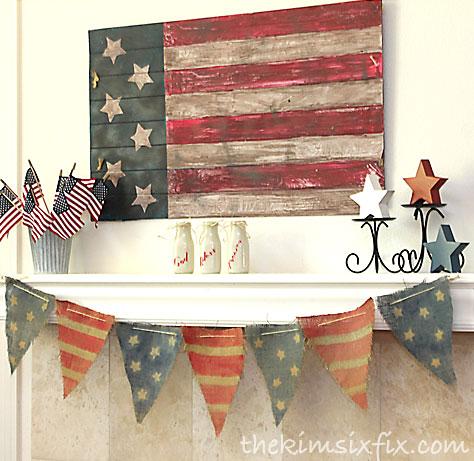 Vintage american flag mantel