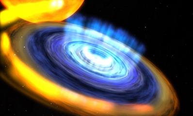 ilustração do disco formado no buraco negro