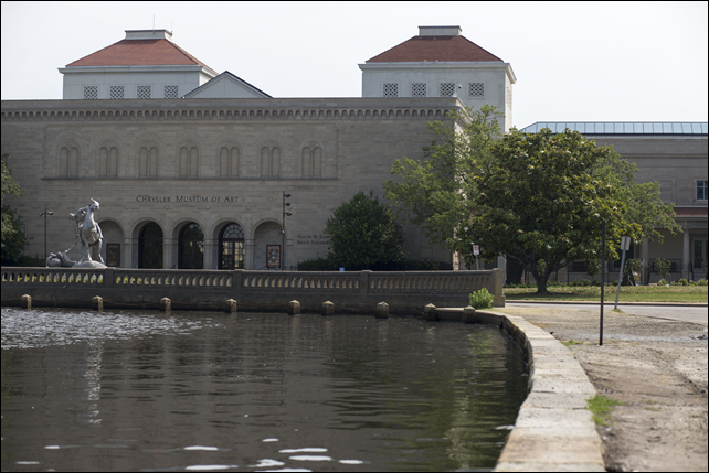 The inlet near the Chrysler Museum of Art at high tide. Before 1980, the Hague never flooded more than 100 hours a year. By 2009, it was routinely flooded for 200, and even 300 hours a year. Photo: Jay Westcott / The Washington Post