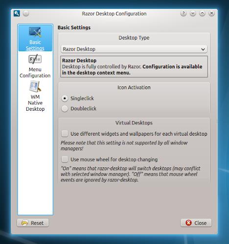 Razor-qt 0.5.0 - configurazione desktop