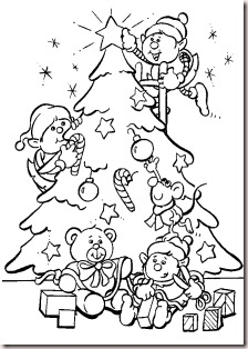 Dwarfs Christmas Tree Decorating Coloring Page