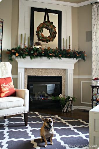 natural magnolia Christmas mantel