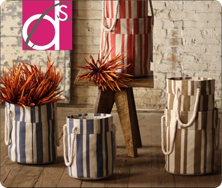 jute striped laundry baskets