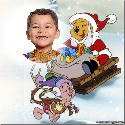 fotomontaje navidad winnie the pooh