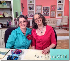 Susan Brubaker Knapp and Sue Reno on the set of Quilting Arts TV