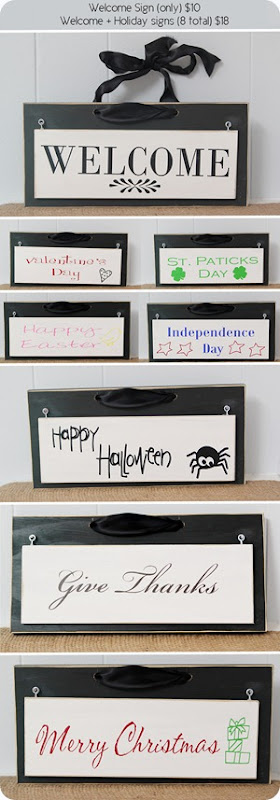 Welcome and holiday signs