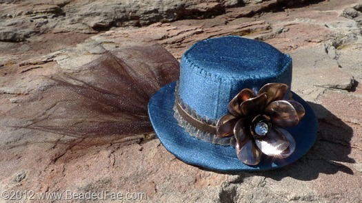 Orange and Teal Steampunk Miniature Hat