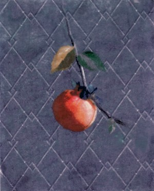 The way the artist displaces a fruit against a patterned background adds a whimsical touch. It would look great paired alongside the next slide.  'Persimmon', mixed media print by Hadley Hutton.  (hadleyhutton.com)