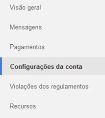 Clique em Configurações da conta