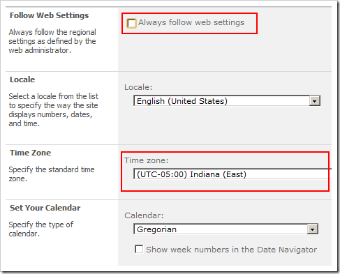 User Site Collection Time Zone settings overriding the default time zone.