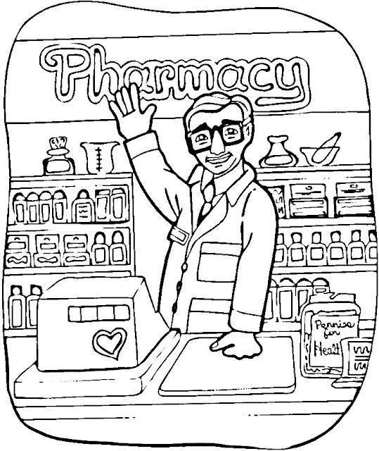 coloring pages pharmacist - photo#3