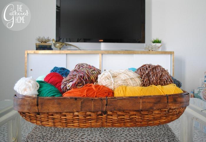 thrift score thursday basket of yarn